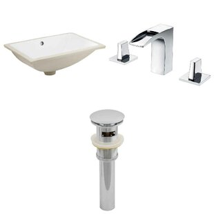 High-End CUPC Ceramic Rectangular Undermount Bathroom Sink with Faucet and Overflow ByRoyal Purple Bath Kitchen