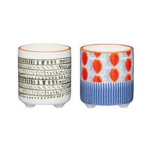 Spots And Stripes 2 Piece Ceramic Cachepot Set By KitchenCraft