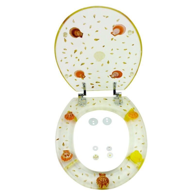 Polyresin Bathroom Sea Shell Adjustable Hinge Elongated Toilet Seat