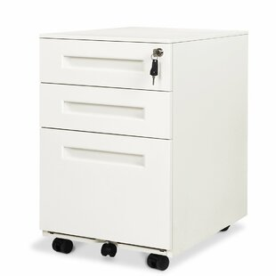 Lourdes Steel 3-Drawer Mobile Vertical Filing Cabinet