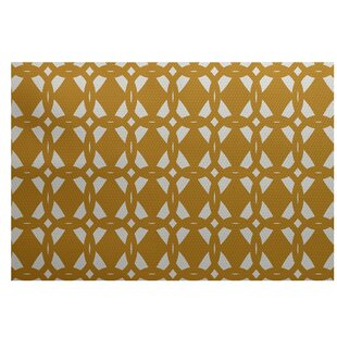Singleton Geometric Print Gold Indoor/Outdoor Area Rug