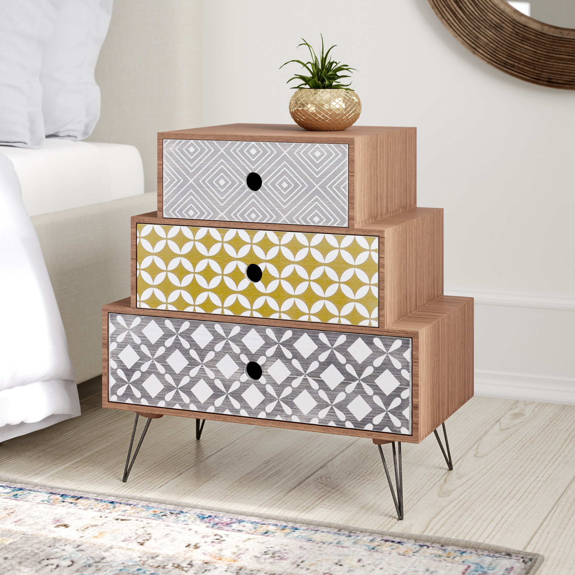 buy online 33562 a9fc3 Aicha 3 Drawer Bedside Table
