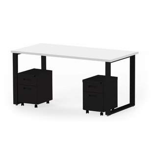 Wickstrom 60 X 30 Desk and 2 Mobile Pedestals, Designer White Laminate/Silver Finish