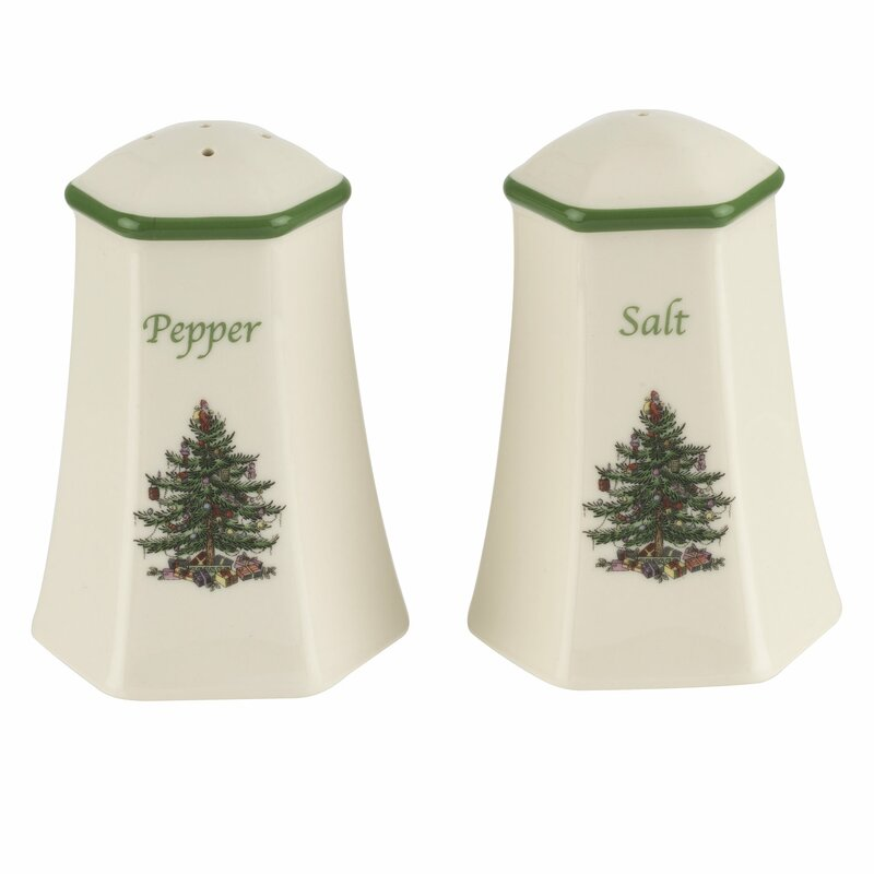 Christmas Tree Hexagonal Salt Pepper Shaker Set