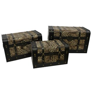 Bloomsbury Market Miller Set of 3 Faux Leather Animal Print Trunks