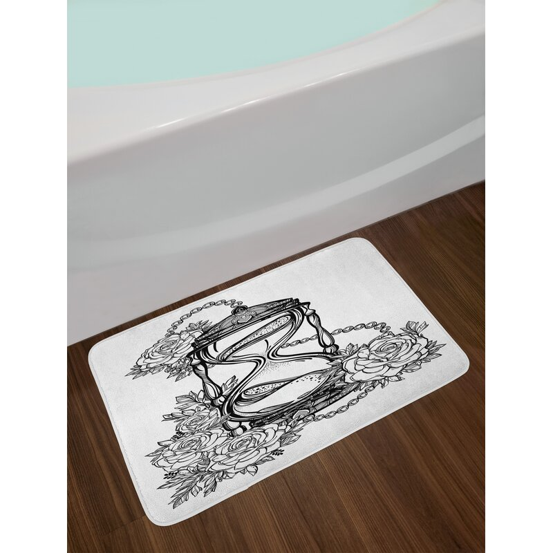 32575bda5 East Urban Home Tattoo Pencil Drawing Romantic Theme Hourglass Symbol of  Eternal Love with Roses Print Non-Slip Plush Bath Rug | Wayfair