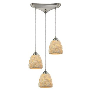 Mariam Bunched shells 3-Light Cluster Pendant by Highland Dunes