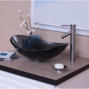 Topia Glass Oval Vessel Bathroom Sink with Faucet