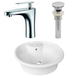 Savings Ceramic Circular Vessel Bathroom Sink with Faucet and Overflow By American Imaginations
