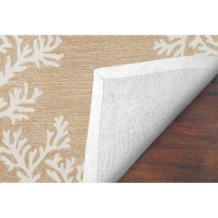Claycomb Coral Border Hand-Tufted Neutral Indoor/Outdoor Area Rug by Highland Dunes