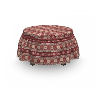 Nordic Scandinavian Xmas Snow 2 Piece Box Cushion Ottoman Slipcover Set By East Urban Home