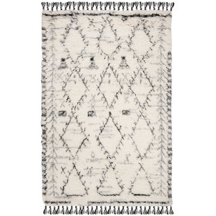 Searching for Blountsville Hand-Knotted Wool Ivory/Black Area Rug By Foundry Select