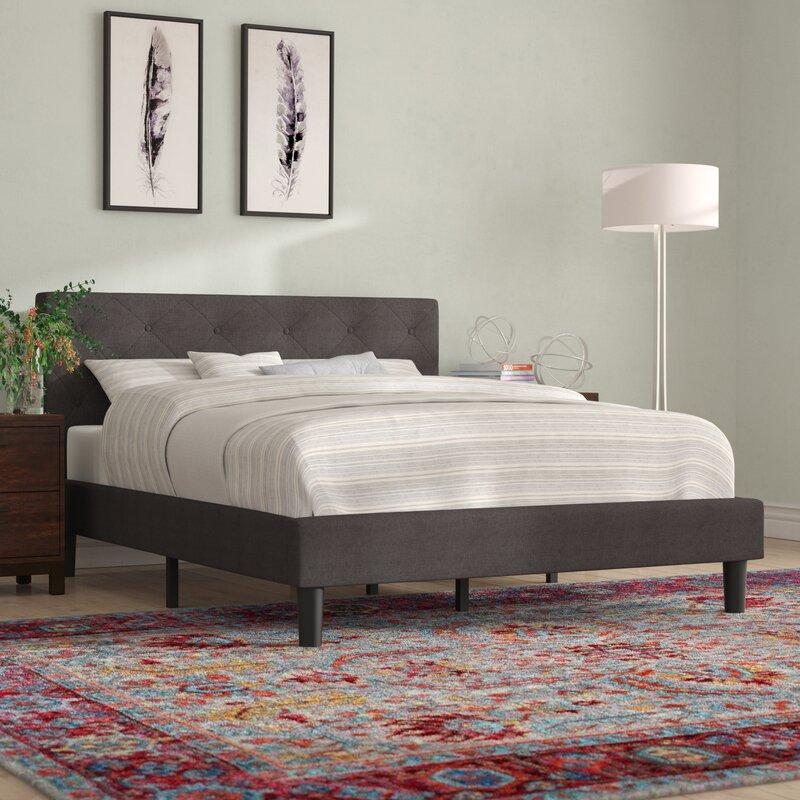 Hester Street Tufted Upholstered Low Profile Platform Bed
