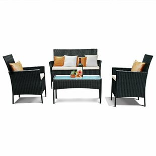 Meadow 4 Piece Rattan Sofa Set with Cushions