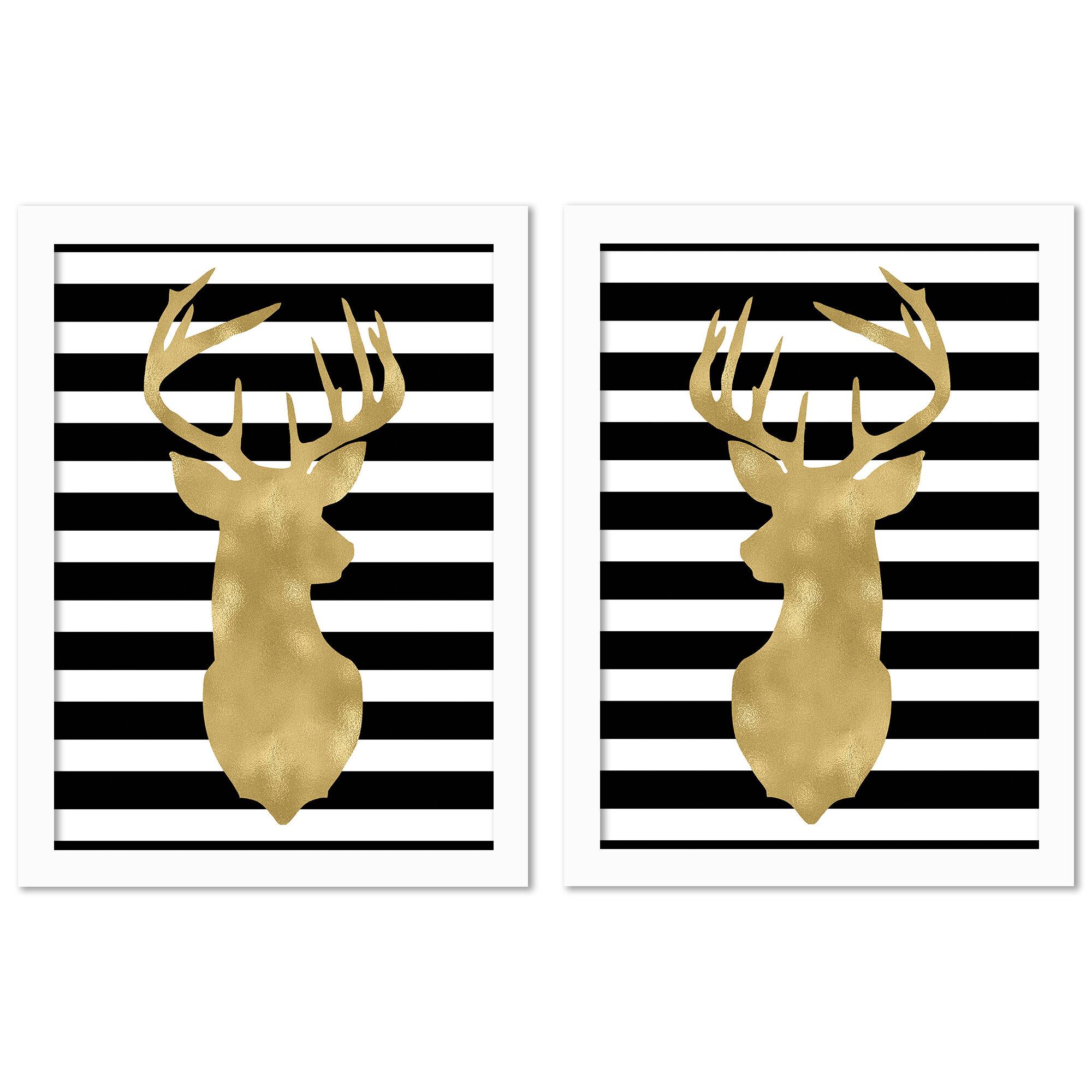 East Urban Home Americanflat Deer Head Right Face Black White Stripe By Amy Brinkman 2 Piece Graphic Art Print Set Wayfair