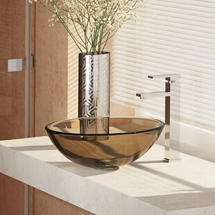 René By Elkay , Cashmere Glass Circular Vessel Bathroom Sink with Faucet