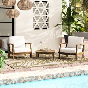 Elaina 3 Piece Teak Conversation Set With Cushions by Beachcrest Home New