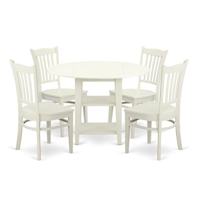 Tyshawn 5 Piece Drop Leaf Breakfast Nook Solid Wood Dining Set Charlton Home Color Linen White