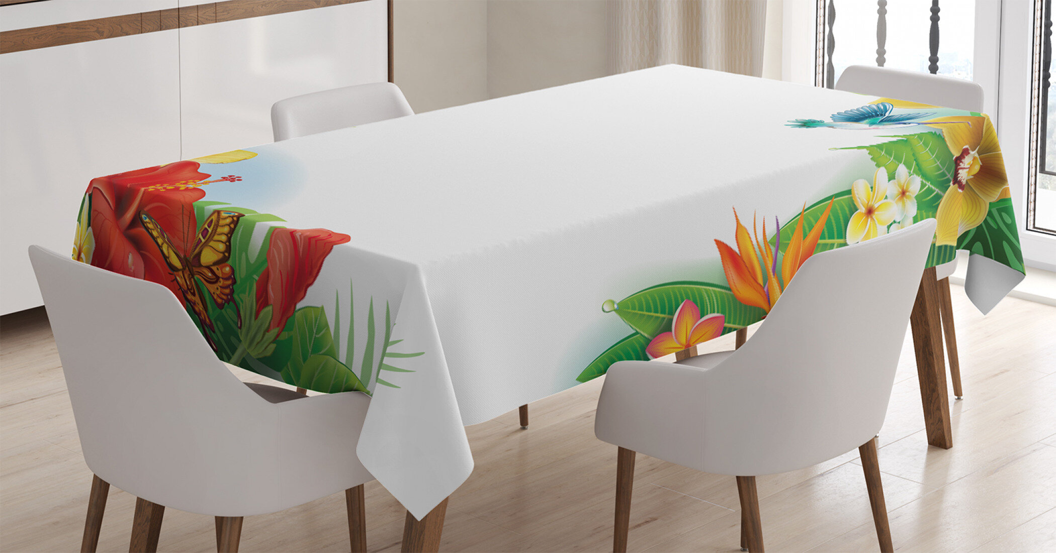 Tropical Vintage Tablecloth Ambesonne 3 Sizes Rectangular Table Cover Decor