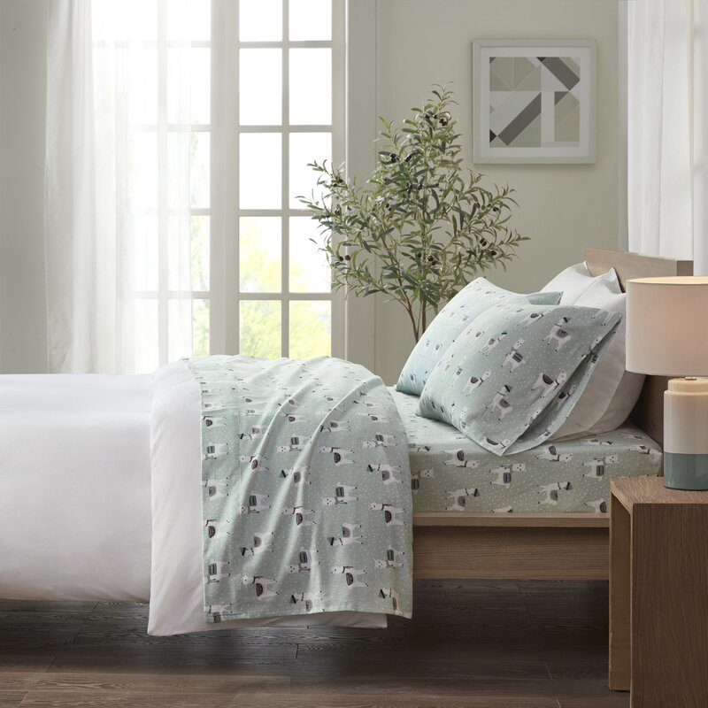 Flannelette 100/% Brushed Cotton Warm /& Cosy Fitted Flat Bedding Sets Size Colour