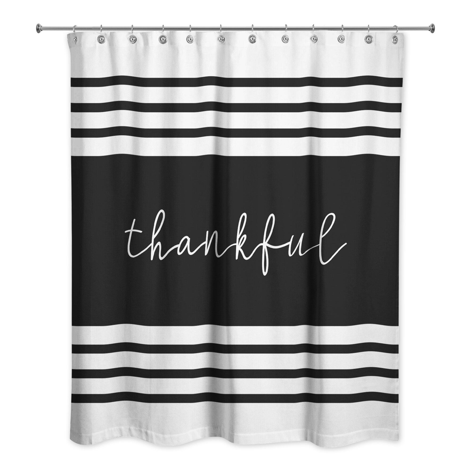 Gracie Oaks Mohegan Thankful Single Shower Curtain Wayfair