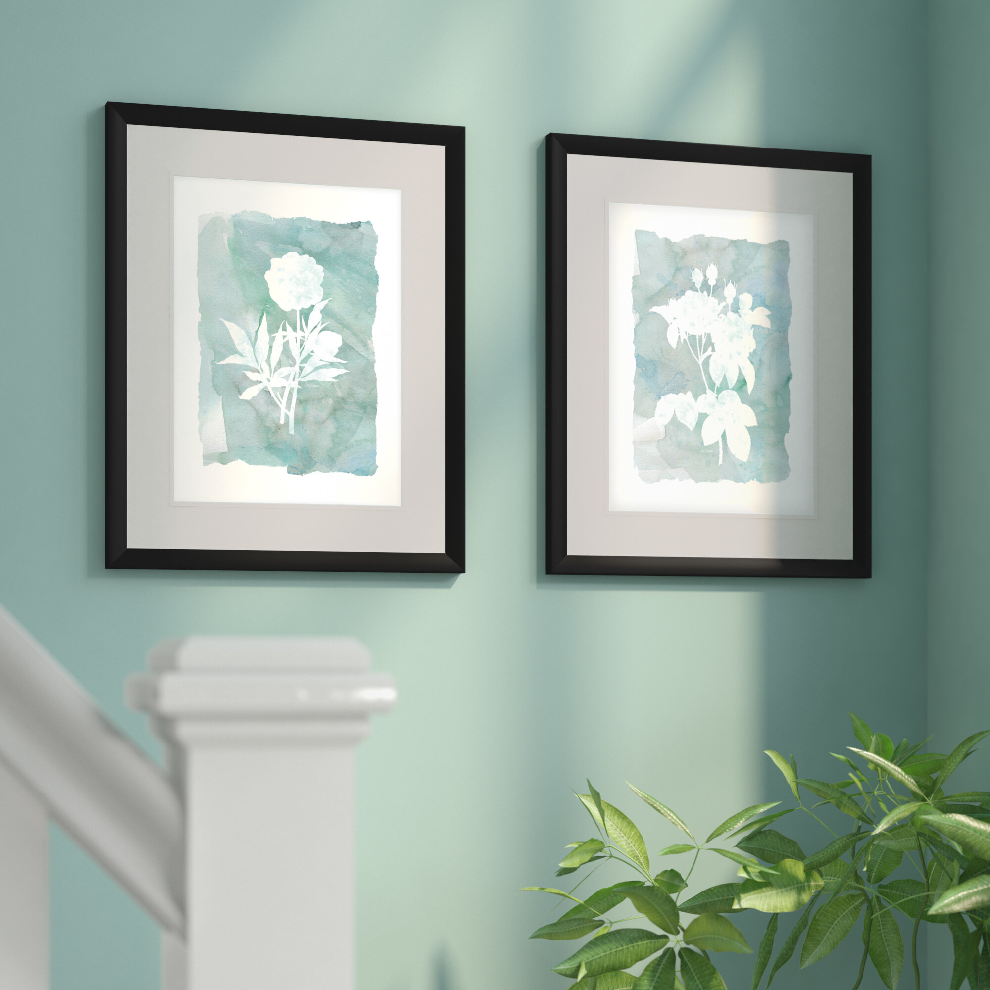 Bungalow Rose Silhouette Botanical I 2 Piece Framed Graphic Art Print Set Wayfair