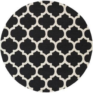 Blaisdell True Black and Ivory White Geometric Stella Area Rug by Charlton Home