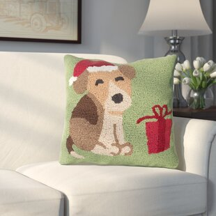 Christmas Hound And Present Throw Pillow by Three Posts No Copoun