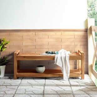 Blalock Wooden Storage Bench By Breakwater Bay