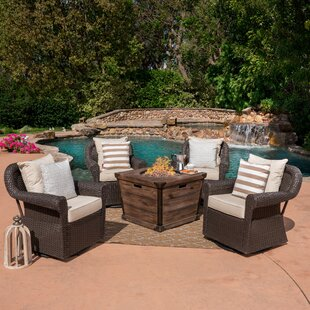 Gracie Oaks Soraya 5 Piece Rattan Conversation Set with Cushions