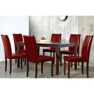Evendale Crimson 7 Piece Solid Wood Dinin..