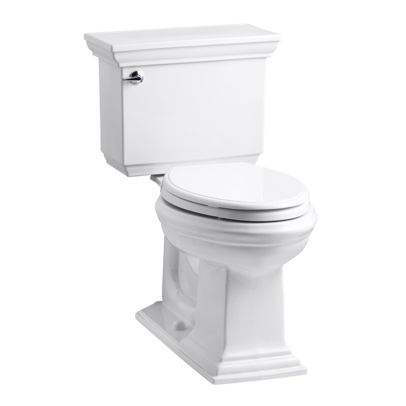 K 3819 0 7 G9 Kohler Memoirs Stately Comfort Height Two Piece Elongated 1 6 Gpf Toilet With Aquapiston Flush Technology And Left Hand Trip Lever Reviews Wayfair