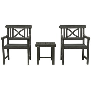Densmore Patio Wood 3 Piece Conversation Set