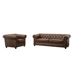 Illinois Tufted Chesterfield 2 Piece Living Room Set
