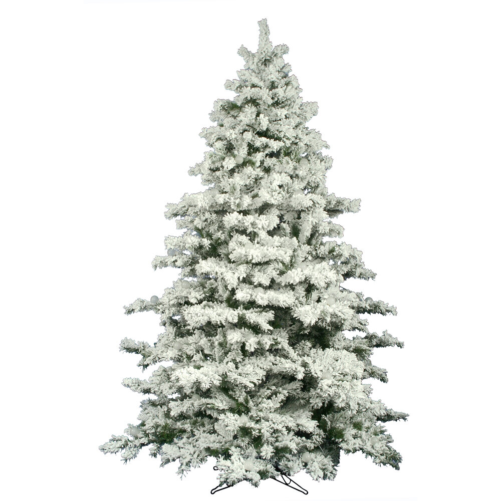 the holiday aisle flocked alaskan 9 white pine artificial unlit christmas tree with stand reviews wayfair