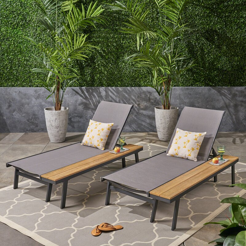 Achillee Reclining Chaise Lounge Set With Table