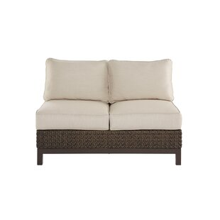 Gracie Oaks Asphodèle Wicker Patio Loveseat with Cushions