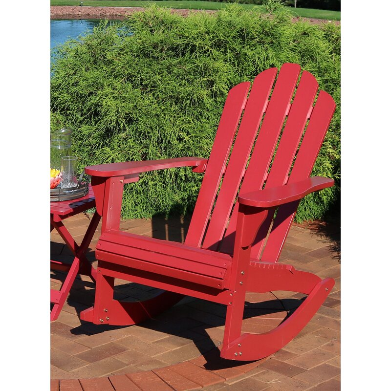 August Grove Curry Solid Wood Rocking Adirondack Chair With Table