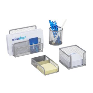 4 Piece Desk Organiser Set By Symple Stuff