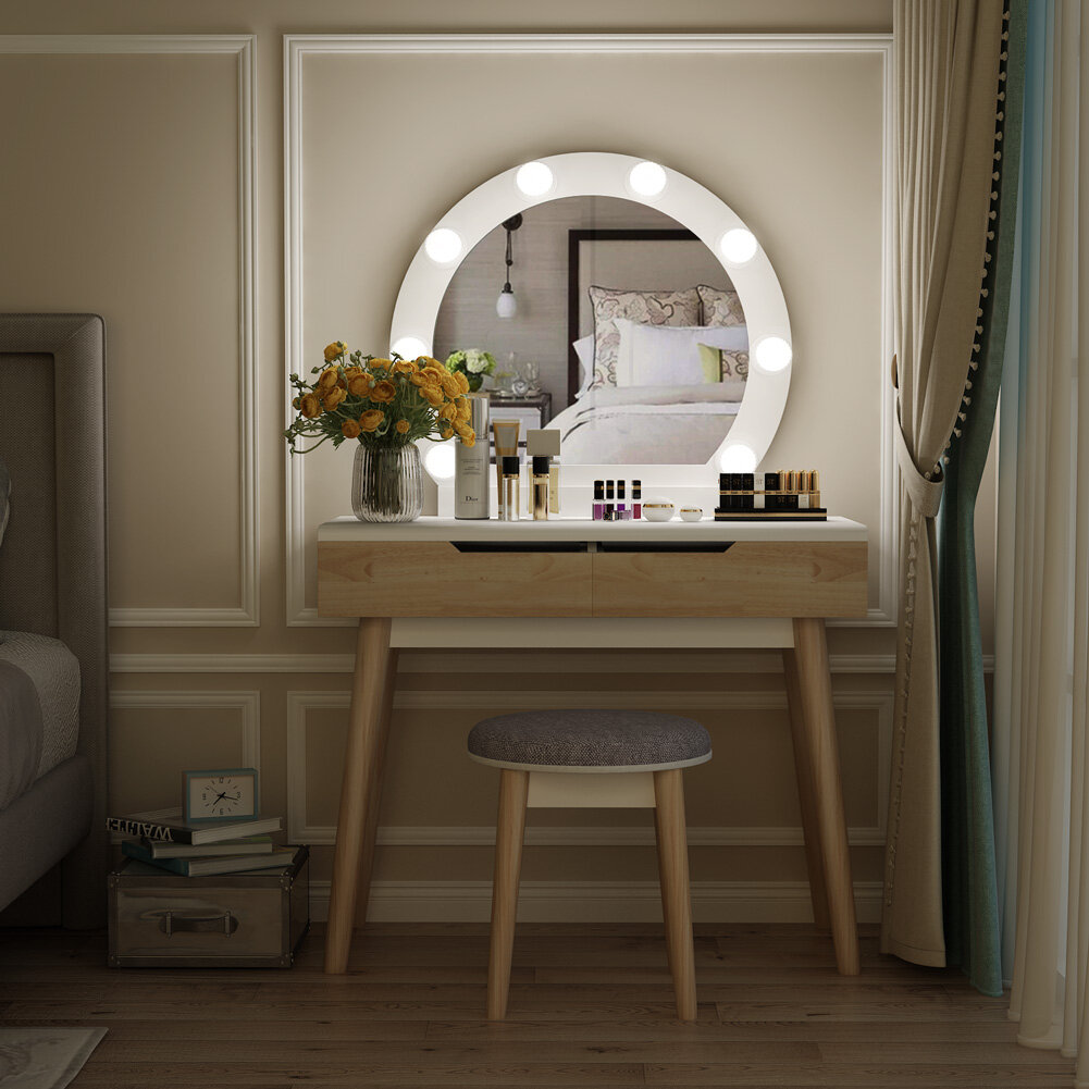 George Oliver Hermanson Vanity Set With Stool And Mirror & Reviews | Wayfair