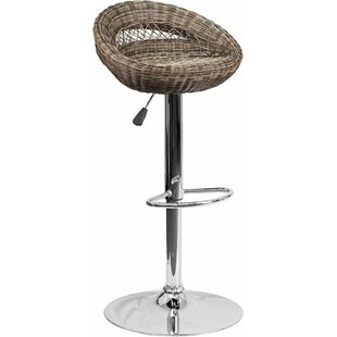 Pervez Wicker 5 Rounded Back Adjustable Height Swivel Bar Stool Highland Dunes