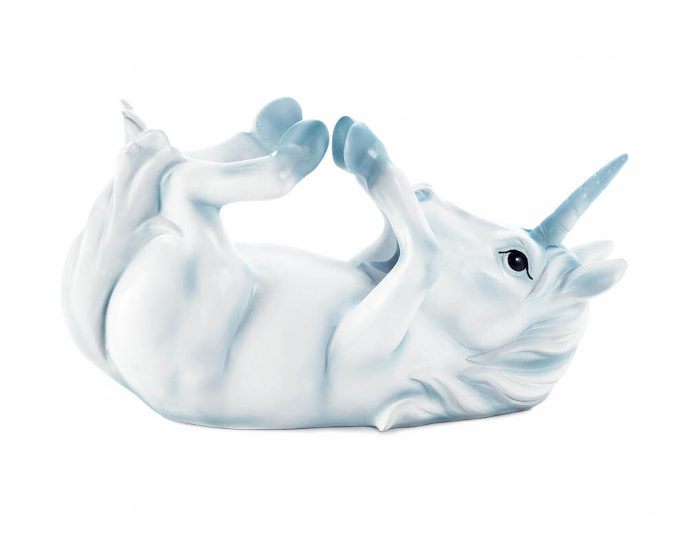 White Unicorn with Lavender  Mane Wrapped Around Wine Bottle Holder