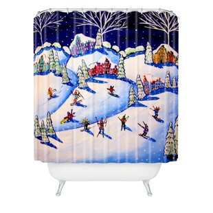 Renie Britenbucher Winter Skiing Fun Single Shower Curtain