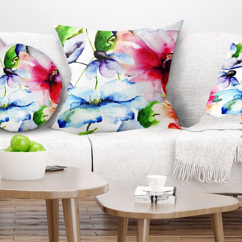 East Urban Home Floral Watercolor Flowers Everywhere Pillow Wayfair