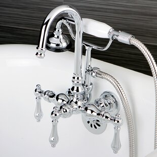Price comparison Vintage Triple Handle Wall Mount Clawfoot Tub Faucet By Kingston Brass