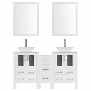 Modern 84 Double Bathroom Vanity Set with Mirror by LessCare