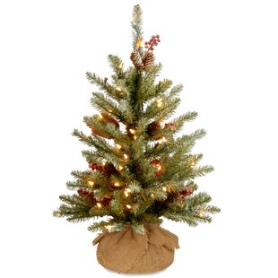 2 green fir artificial christmas tree with 15 led white lights