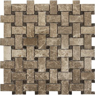 Emperador with Basketweave Stone Mosaic Tile in Light