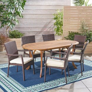 Bungalow Rose Wynsum Outdoor 7 Piece Dining Set with Cushions