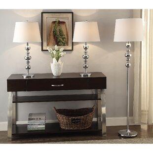 Brayden Studio Shofner 3 Piece Table and Floor Lamp Set